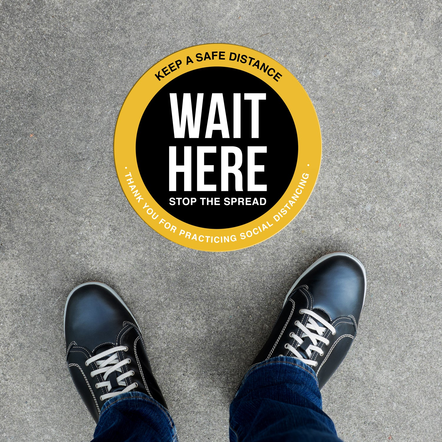 Floor Decal - Wait Here - Black/Yellow
