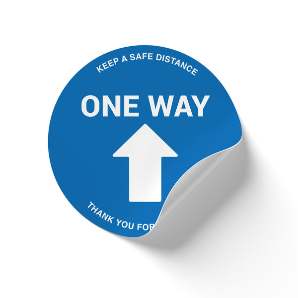 One Way Floor Decal - One Way - Blue