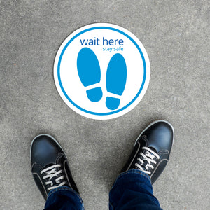Floor Decal - Wait Here in Turquoise