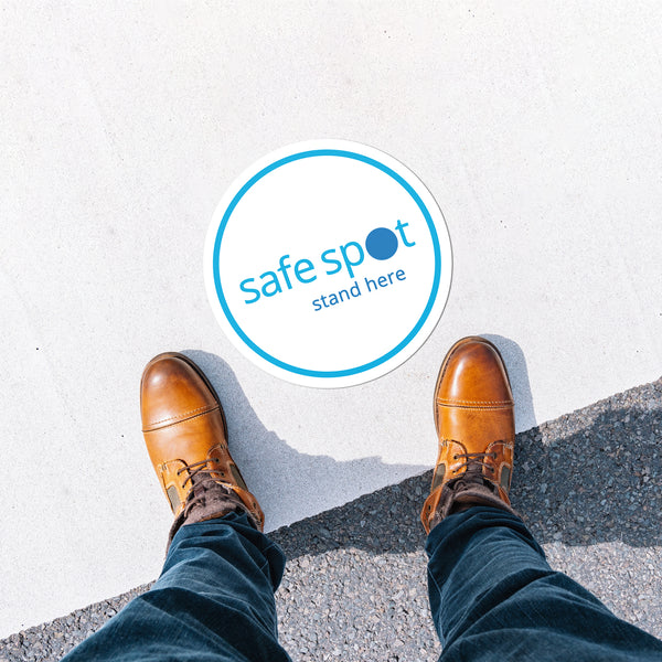 Stay Safe Floor Decal - Blue & White Safe Spot