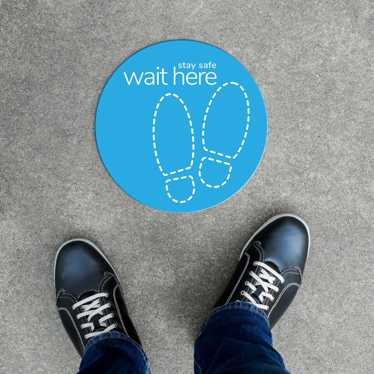 Floor Decal - Wait Here Outline
