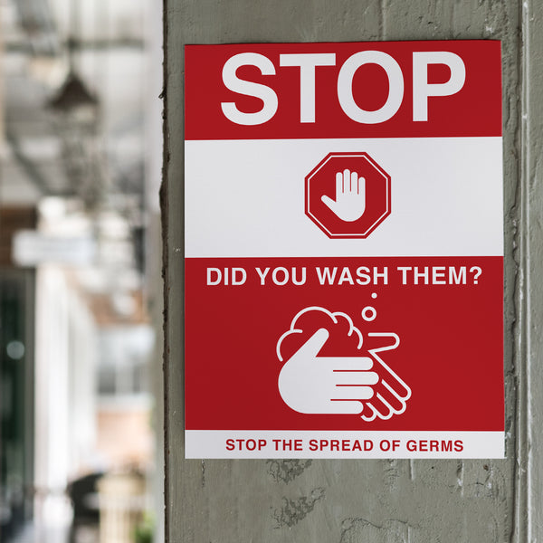 Stop and Wash Sign