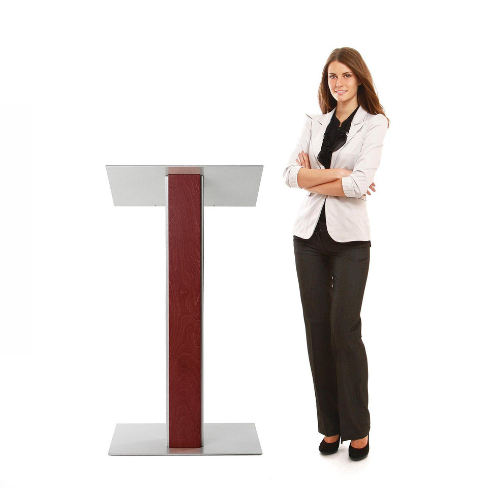 Y5 lectern / podium from Urbann Products - Mahogany - with woman