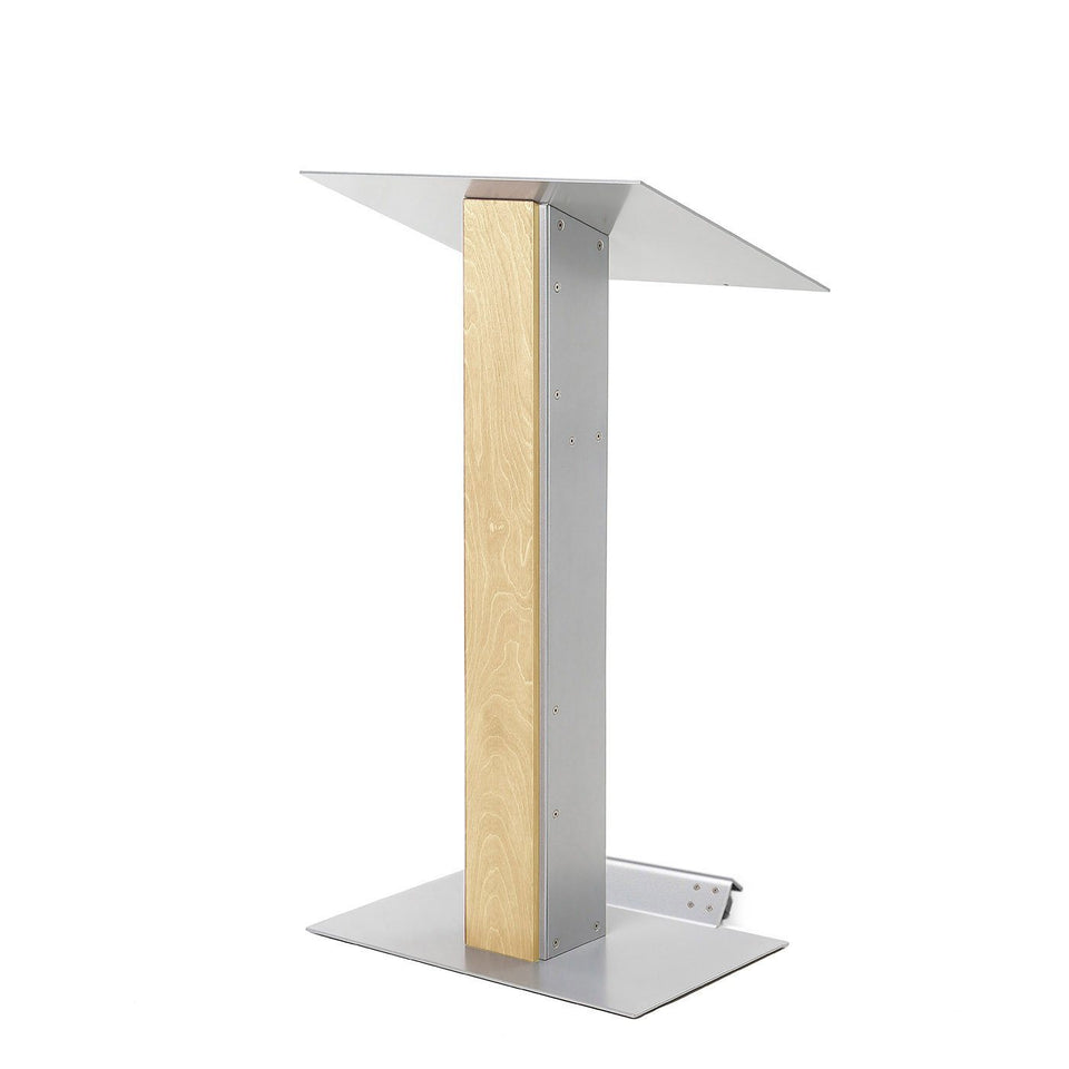 Y5 lectern / podium from Urbann Products - Natural wood - with wheels side view