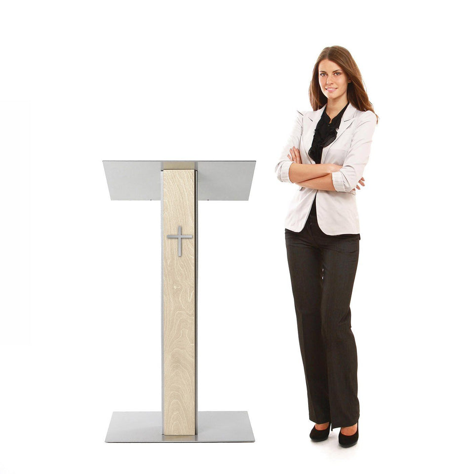 Y5 lectern / podium from Urbann Products - Unfinished wood - side view - with woman and cross