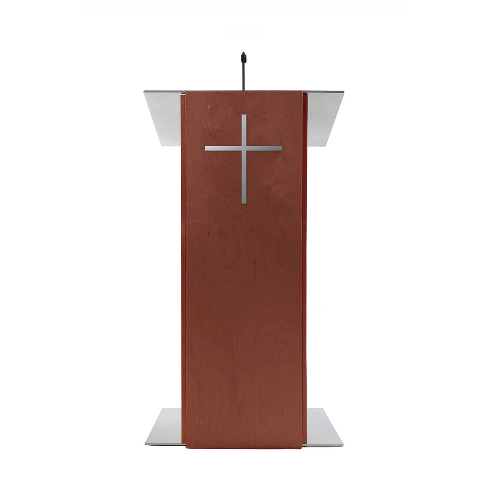 K2 lectern Full Mahogany / wooden podium from Urbann Products front view - Church