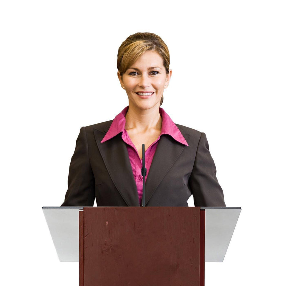 Woman behind a K2 lectern Full Mahogany / wooden podium from Urbann Products