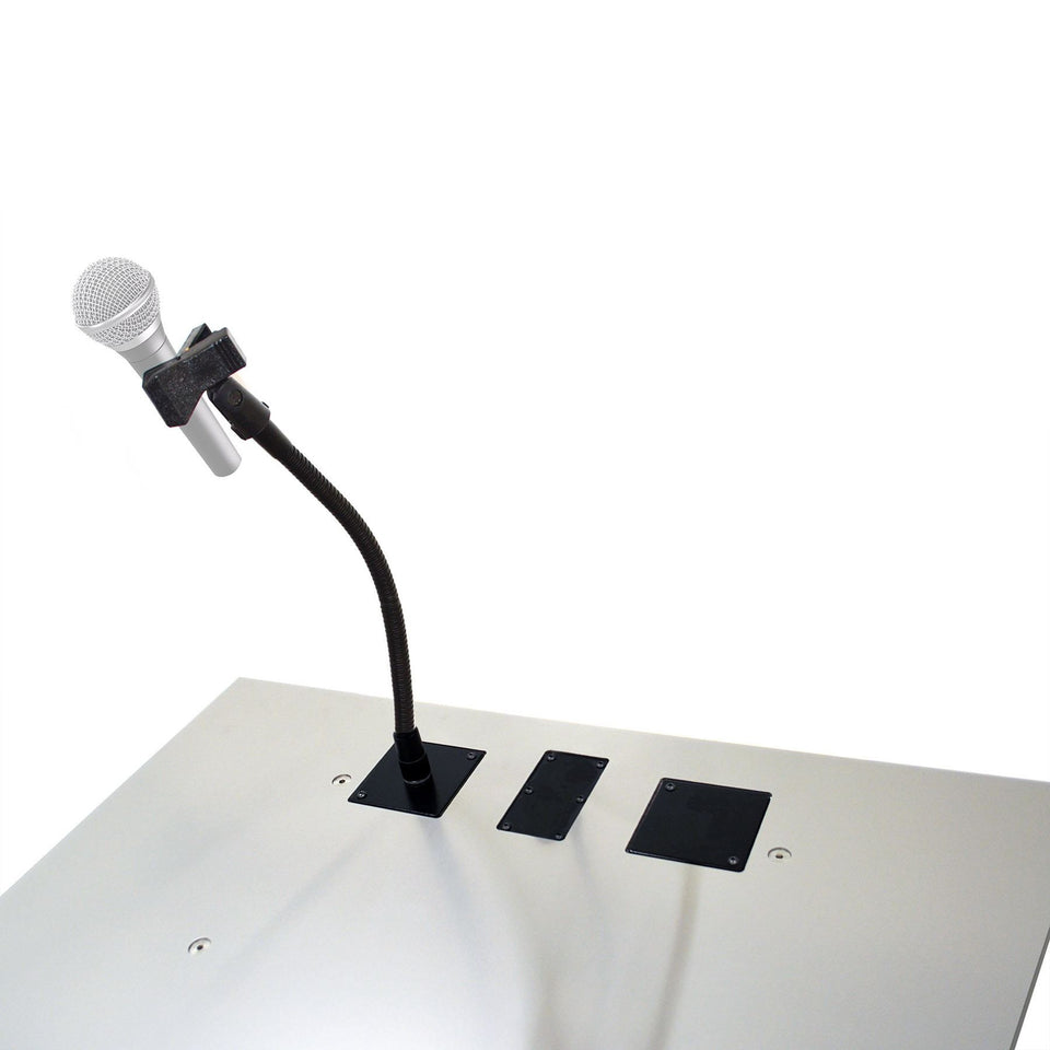 Microphone holder on lectern with wireless microphone