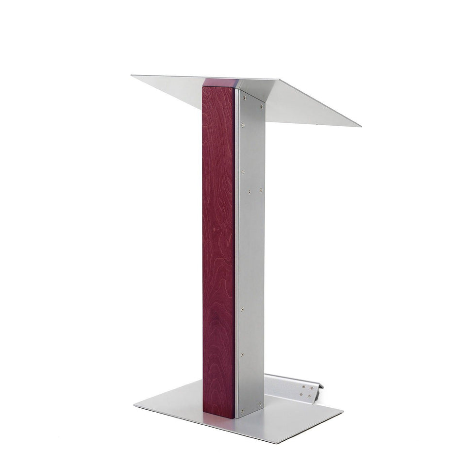 Y5 lectern / podium from Urbann Products - Mahogany - with wheels side view