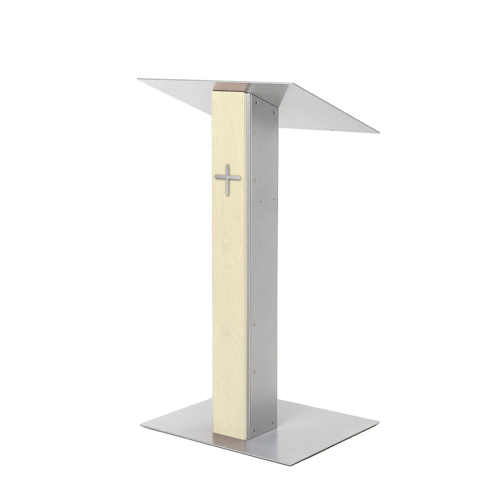 Y5 lectern / podium from Urbann Products - Unfinished wood - side view - with cross