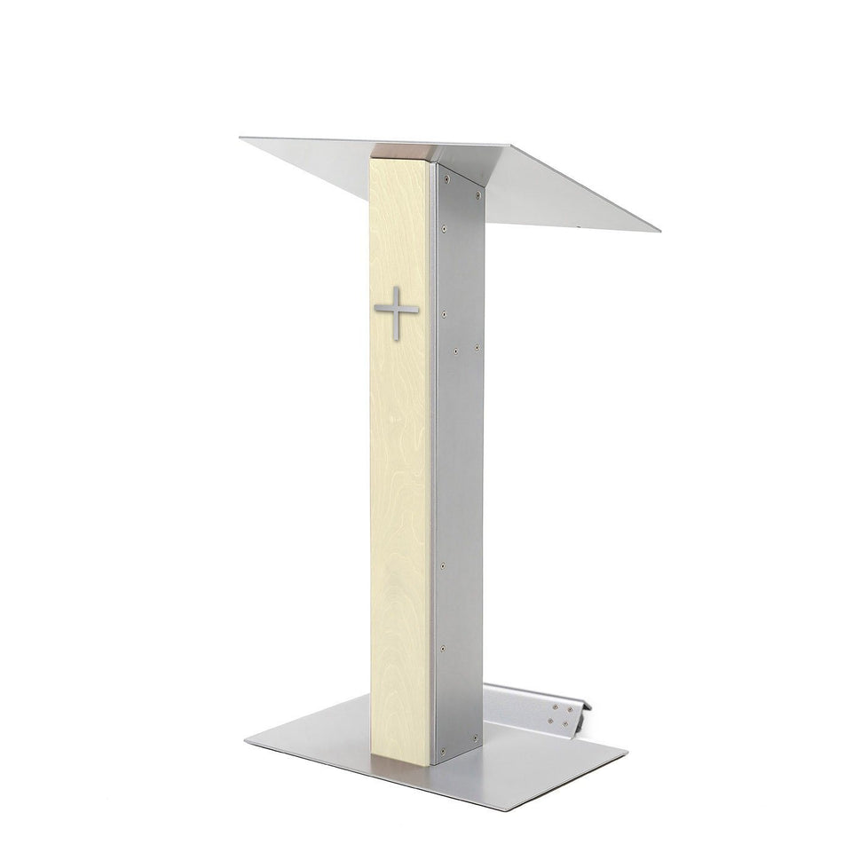 Y5 lectern / podium from Urbann Products - Unfinished wood - with wheels side view - with cross