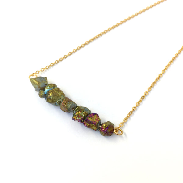 Rainbow quartz nugget necklace