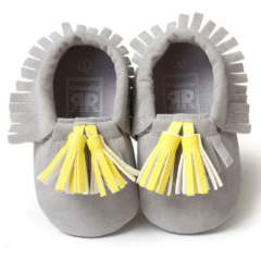 Baby Moccs - Grey with Yellow Tassel