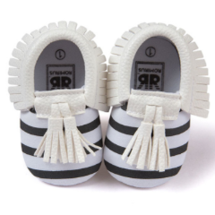 Baby Moccs - B&W with White Tassel