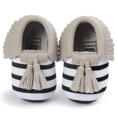 Baby Moccs - B&W Striped with Grey Tassel
