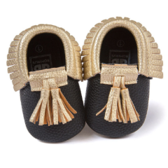 Baby Moccs - Black with Gold Tassel