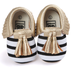 Baby Moccs - B&W Striped with Gold Tassel