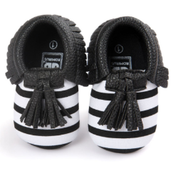 Baby Moccs - B&W Striped with Black Tassel