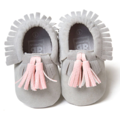 Baby Moccs - Grey with Pink Tassel