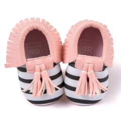 Baby Moccs - B&W Striped with Pink Tassel