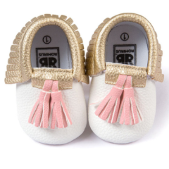 Baby Moccs - White & Gold with Pink Tassel
