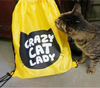 crazy cat lady drawstring bag