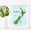 New Zealand Map Illustration A4 Print