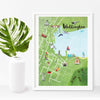 Wellington Map Illustration A4 Print