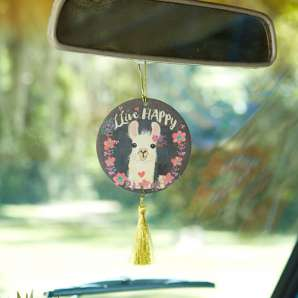 Live happy floral llama air freshener