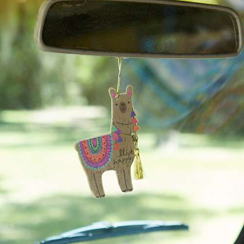 Live happy llama air freshener