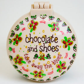 Compact mirror and brush - Choc and shoes