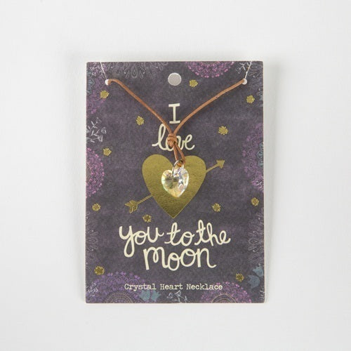 'to the moon' crystal heart necklace
