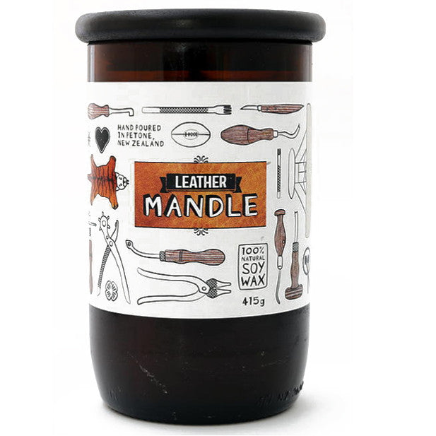 LEATHER MANDLE candle Large