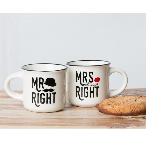 mr and mrs right mini mug duo