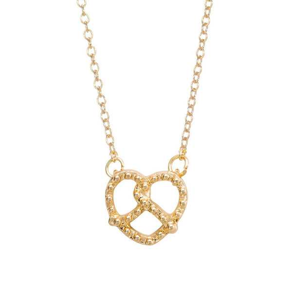 Pretzel Charm Necklace- Gold & Silver