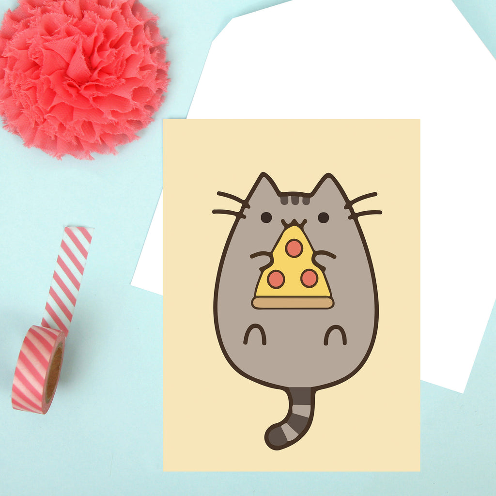 Pusheen Pizza Card