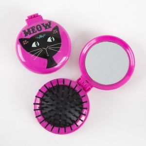 Compact mirror and brush - Meow