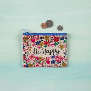 Be Happy- Recycled Zip Coin Purse