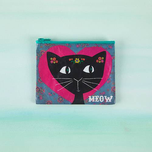 Meow- Recycled Zip Coin Purse