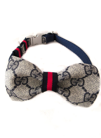 Navy Gucci Bow Tie Collar