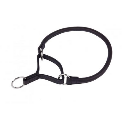 Black Martingale Wide Leather Collar