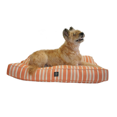 Orange Striped Rectangular Bed
