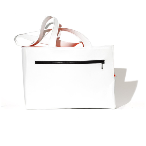 White Leather Dog Travel Tote