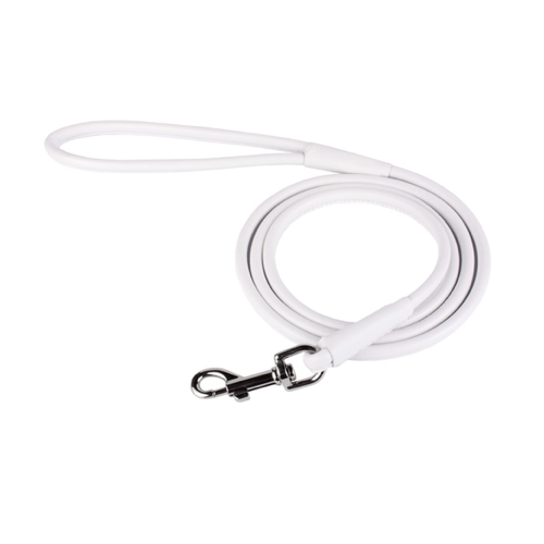 White Rolled Leather Leash