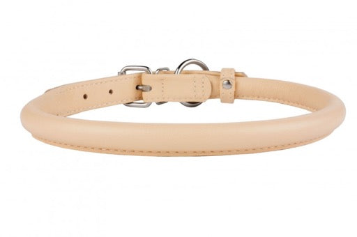 Beige Rolled Leather Collar