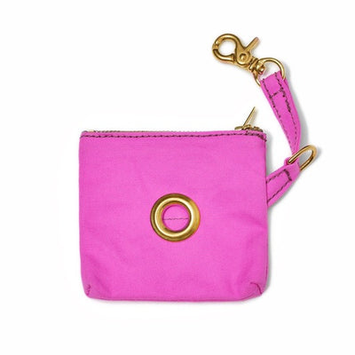 Bright Pink Waxed Canvas Poop Bag Pouch
