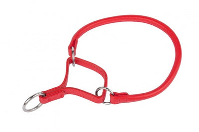 Red Rolled Martingale Leather Collar