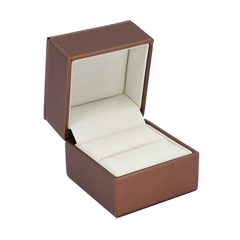 Ring Box Luxury Leatherette Stitched Frame, Destiny Collection - Amber Packaging