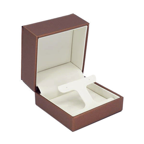 Drop Earring Box Luxury Leatherette Stitched Frame, Destiny Collection - Amber Packaging