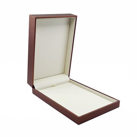 Necklace Box Luxury Leatherette Stitched Frame, Destiny Collection - Amber Packaging